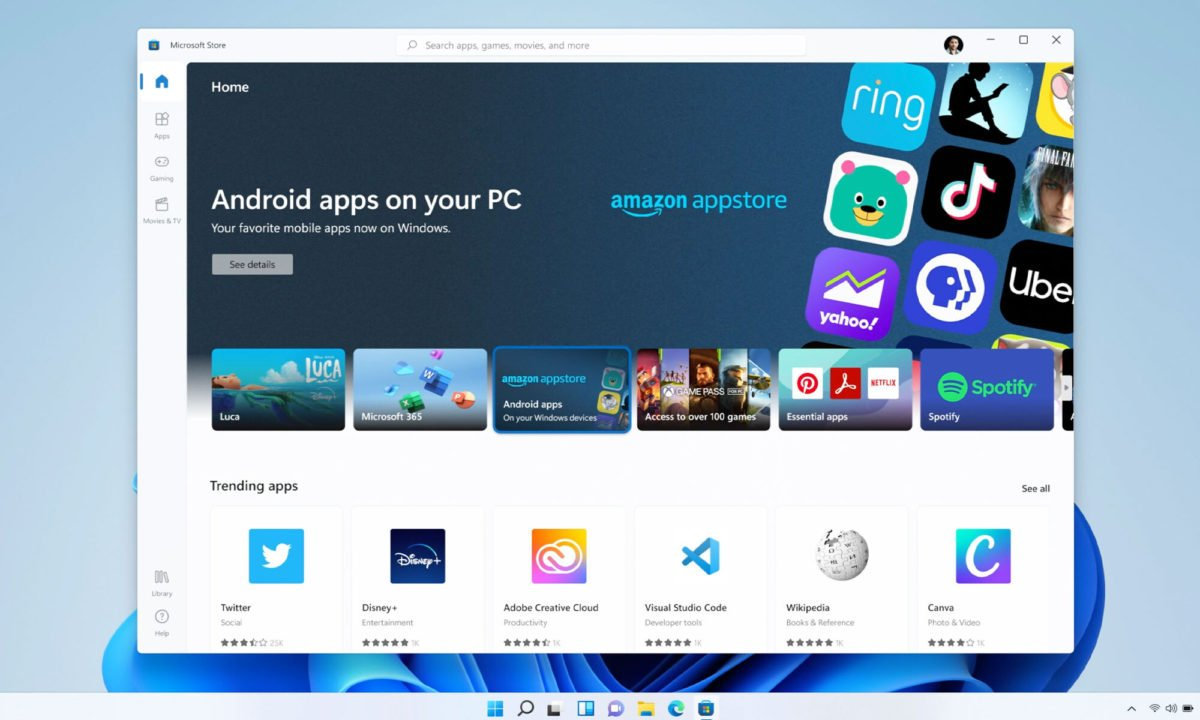 Windows 11 - Android App Amazon Store