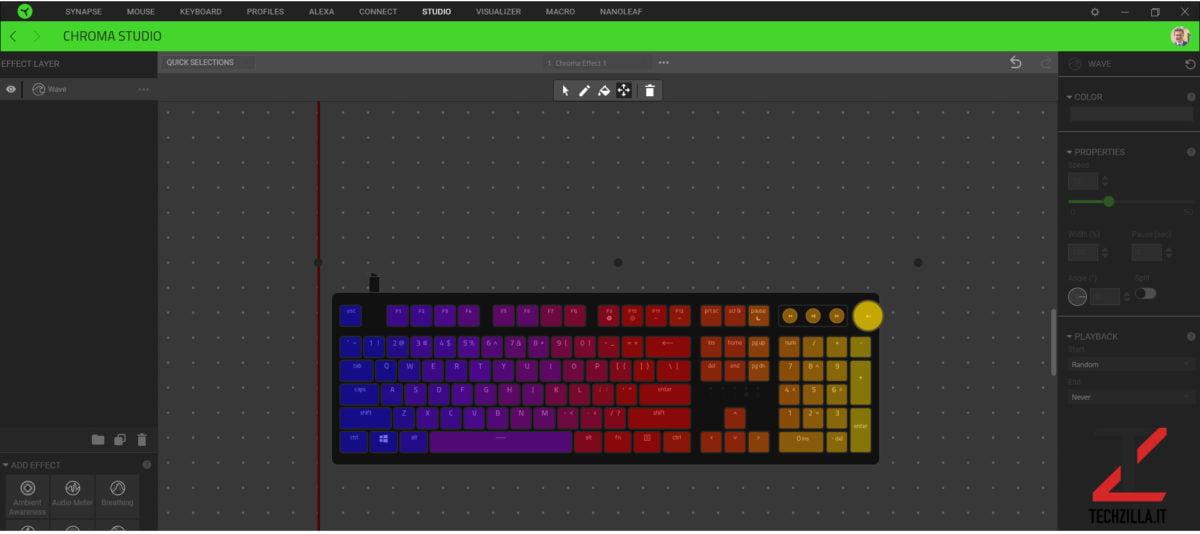 Nuova Razer Huntsman V2 impostazioni Chroma RGB