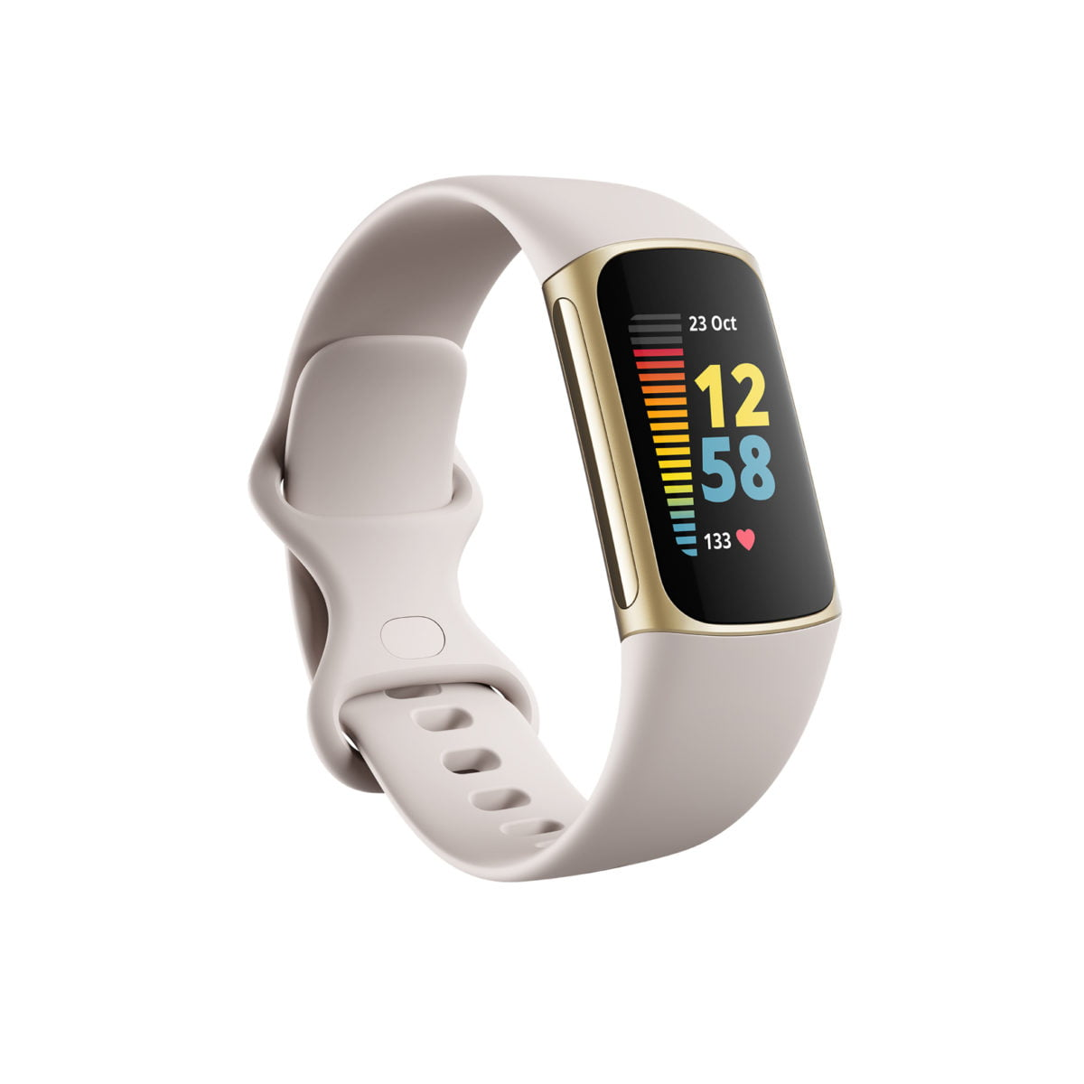 fitbit charge 5 braccialetto per rilevamento di attivita oro bianco fb421glwt